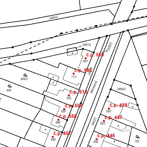 Katastrální mapa Stavební objekt Tlumačov 585, Tlumačov