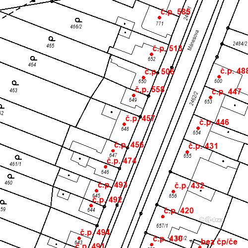 Katastrální mapa Stavební objekt Tlumačov 457, Tlumačov