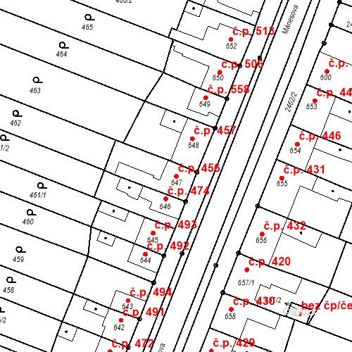 Katastrální mapa Stavební objekt Tlumačov 456, Tlumačov