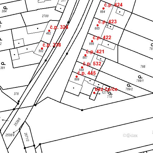Katastrální mapa Stavební objekt Tlumačov 445, Tlumačov