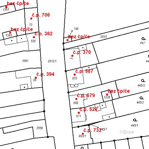 Katastrální mapa Stavební objekt Tlumačov 587, Tlumačov