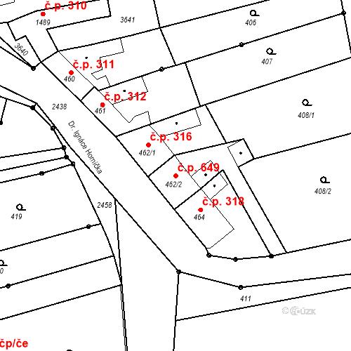 Katastrální mapa Stavební objekt Tlumačov 649, Tlumačov