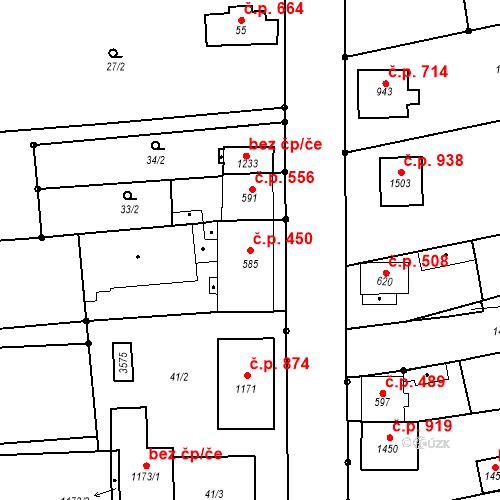 Katastrální mapa Stavební objekt Tlumačov 450, Tlumačov