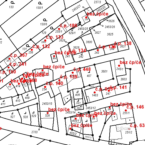 Katastrální mapa Stavební objekt Tlumačov 448, Tlumačov