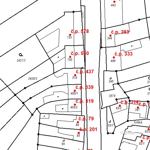 Katastrální mapa Stavební objekt Tlumačov 437, Tlumačov