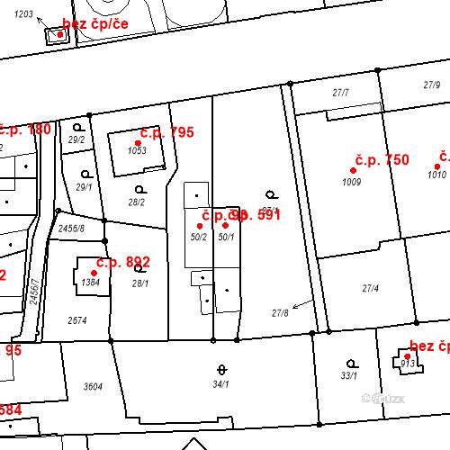 Katastrální mapa Stavební objekt Tlumačov 591, Tlumačov