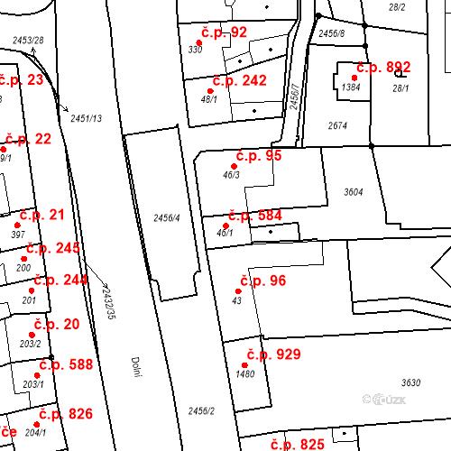 Katastrální mapa Stavební objekt Tlumačov 584, Tlumačov
