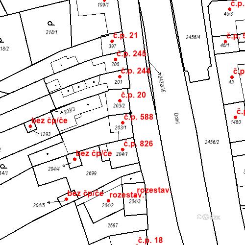 Katastrální mapa Stavební objekt Tlumačov 588, Tlumačov