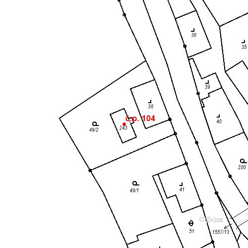Katastrální mapa Stavební objekt Horní Údolí 104, Zlaté Hory