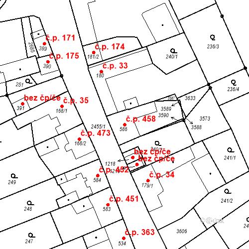Katastrální mapa Stavební objekt Tlumačov 458, Tlumačov