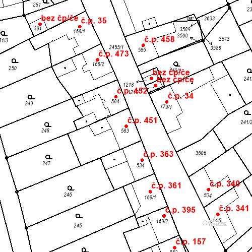 Katastrální mapa Stavební objekt Tlumačov 451, Tlumačov