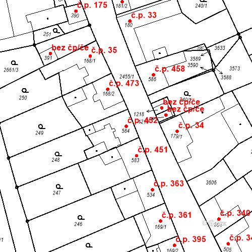 Katastrální mapa Stavební objekt Tlumačov 452, Tlumačov