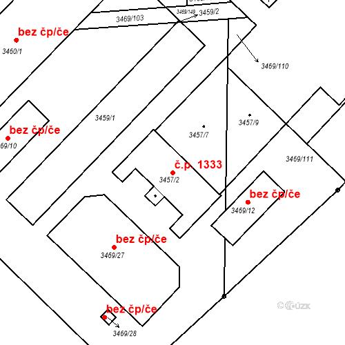 Katastrální mapa Stavební objekt Hulín 1333, Hulín