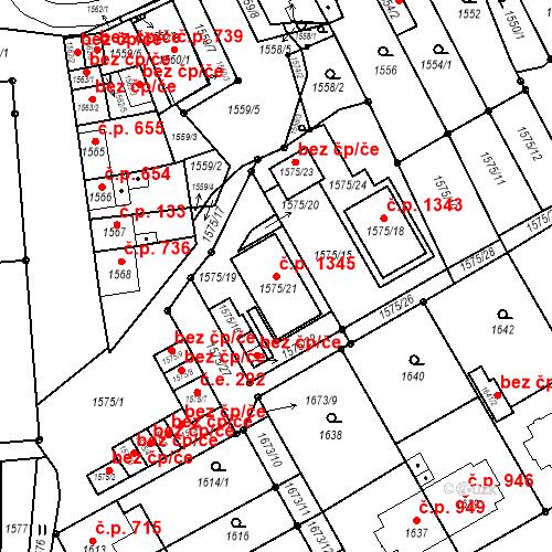 Katastrální mapa Stavební objekt Hulín 1345, Hulín