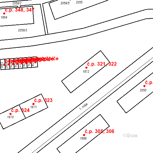 Katastrální mapa Stavební objekt Břidličná 321, 322, Břidličná