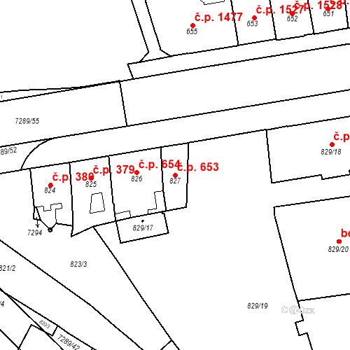 Katastrální mapa Stavební objekt Přerov I-Město 653, Přerov