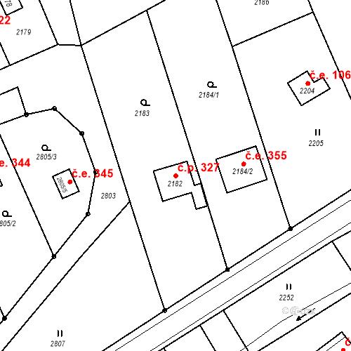 Katastrální mapa Stavební objekt Hlubočky 327, Hlubočky