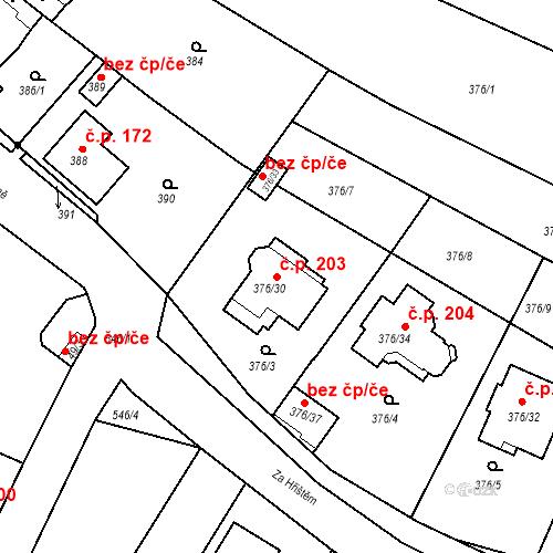 Katastrální mapa Stavební objekt Vésky 203, Uherské Hradiště