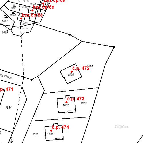 Katastrální mapa Stavební objekt Hlubočky 472, Hlubočky