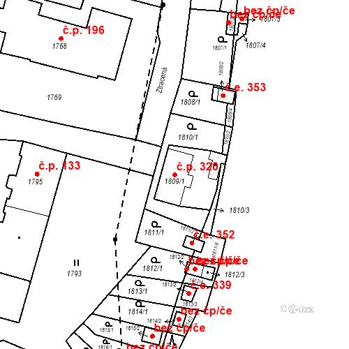 Katastrální mapa Stavební objekt Hlubočky 320, Hlubočky