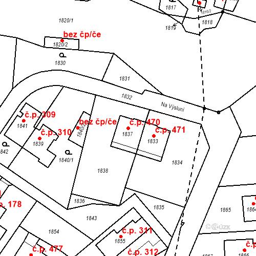 Katastrální mapa Stavební objekt Hlubočky 470, Hlubočky