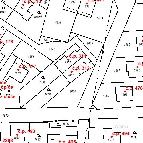 Katastrální mapa Stavební objekt Hlubočky 312, Hlubočky