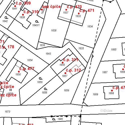 Katastrální mapa Stavební objekt Hlubočky 311, Hlubočky