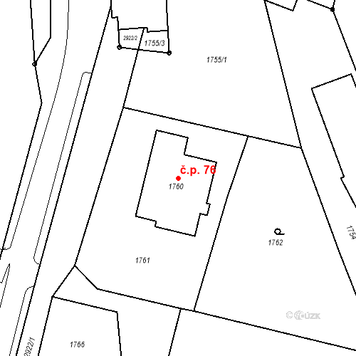 Katastrální mapa Stavební objekt Hlubočky 76, Hlubočky