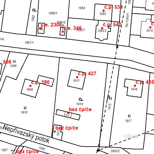 Katastrální mapa Stavební objekt Hlubočky 427, Hlubočky