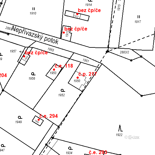Katastrální mapa Stavební objekt Hlubočky 217, Hlubočky