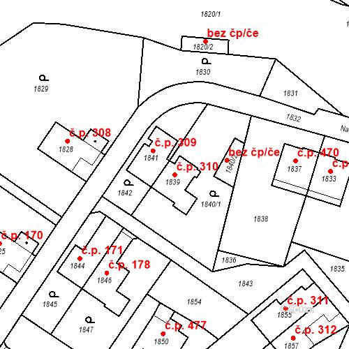 Katastrální mapa Stavební objekt Hlubočky 310, Hlubočky