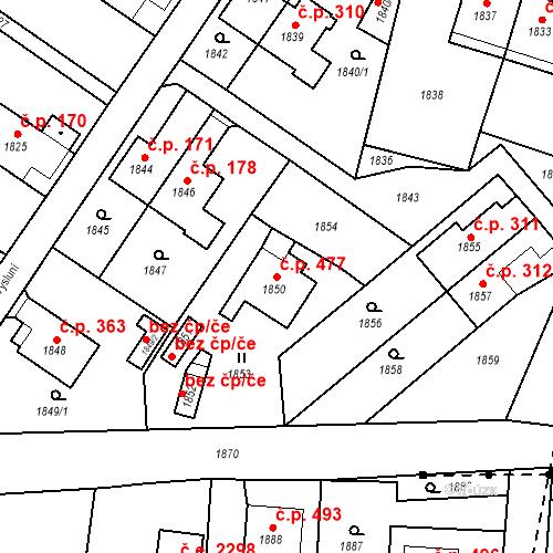 Katastrální mapa Stavební objekt Hlubočky 477, Hlubočky