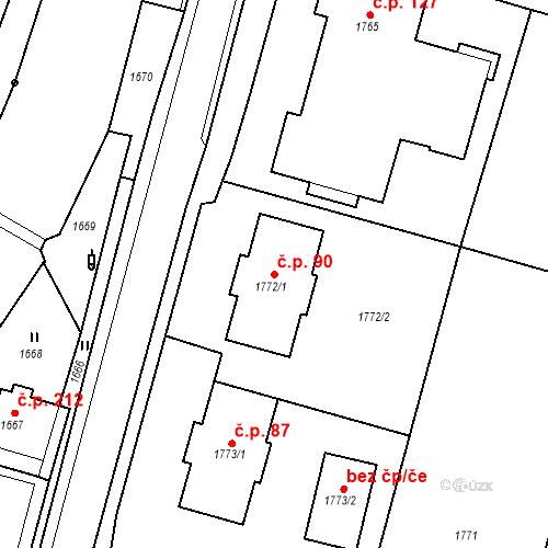Katastrální mapa Stavební objekt Hlubočky 90, Hlubočky
