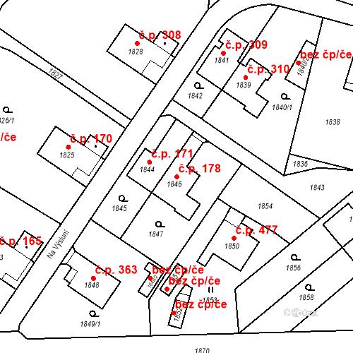 Katastrální mapa Stavební objekt Hlubočky 178, Hlubočky