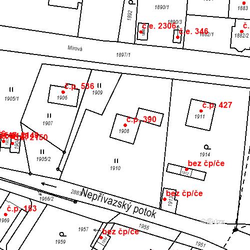 Katastrální mapa Stavební objekt Hlubočky 390, Hlubočky