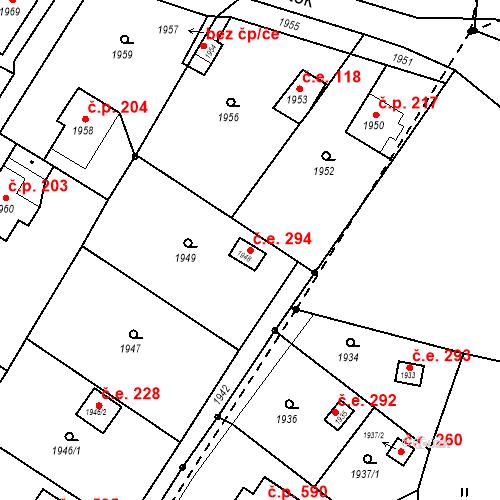 Katastrální mapa Stavební objekt Hlubočky 294, Hlubočky
