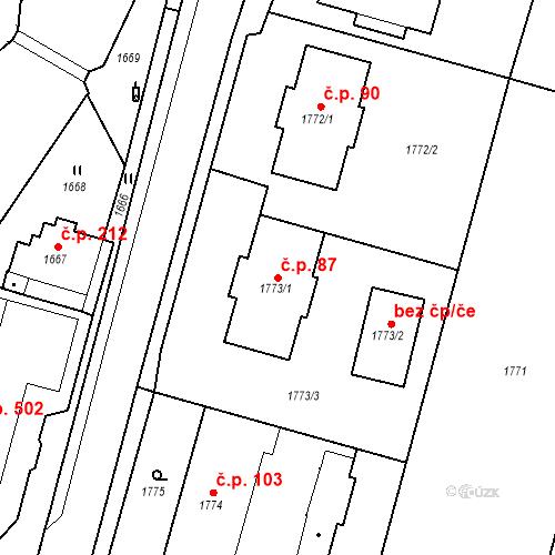 Katastrální mapa Stavební objekt Hlubočky 87, Hlubočky