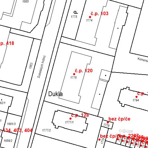 Katastrální mapa Stavební objekt Hlubočky 120, Hlubočky