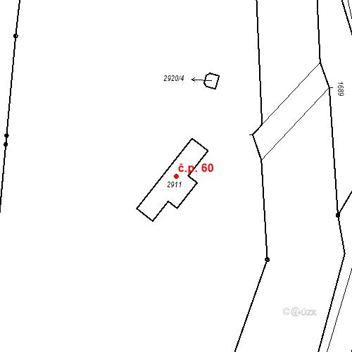 Katastrální mapa Stavební objekt Hlubočky 60, Hlubočky