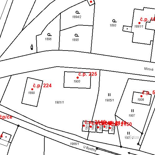 Katastrální mapa Stavební objekt Hlubočky 225, Hlubočky