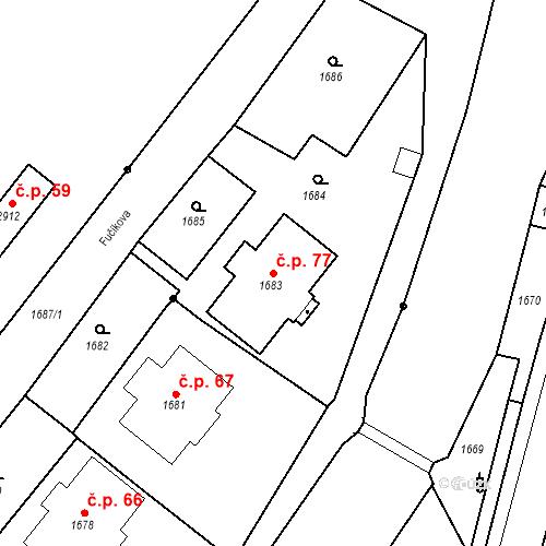 Katastrální mapa Stavební objekt Hlubočky 77, Hlubočky