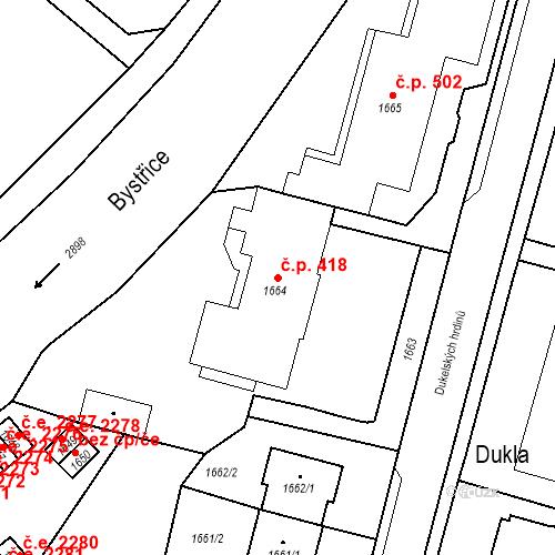 Katastrální mapa Stavební objekt Hlubočky 418, Hlubočky