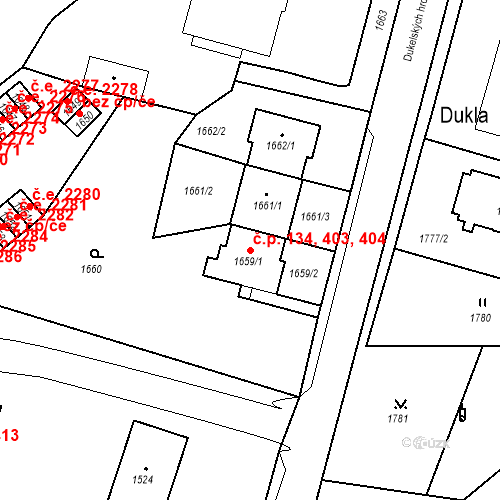 Katastrální mapa Stavební objekt Hlubočky 134, 403, 404, Hlubočky