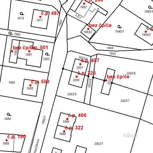 Katastrální mapa Stavební objekt Hlubočky 323, Hlubočky