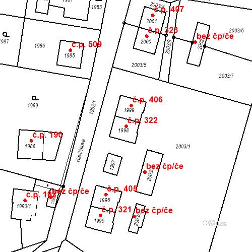 Katastrální mapa Stavební objekt Hlubočky 322, Hlubočky