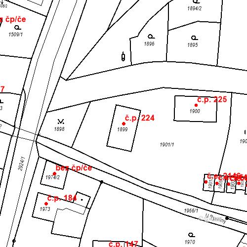 Katastrální mapa Stavební objekt Hlubočky 224, Hlubočky