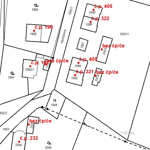 Katastrální mapa Stavební objekt Hlubočky 321, Hlubočky