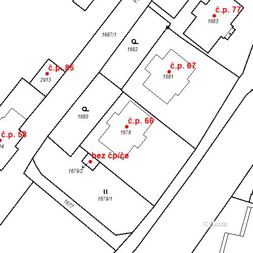 Katastrální mapa Stavební objekt Hlubočky 66, Hlubočky