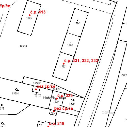 Katastrální mapa Stavební objekt Hlubočky 331, 332, 333, Hlubočky