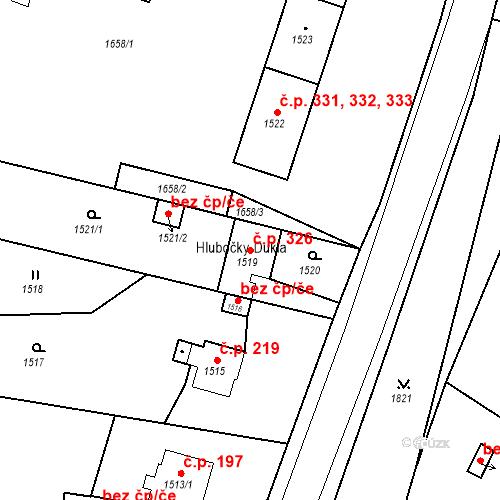 Katastrální mapa Stavební objekt Hlubočky 326, Hlubočky